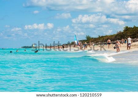 VARADERO,CUBA-NOVEMBER 4:Beautiful day at the beach November 4,2012 in Varadero.More than 40% of the more than 2 million foreign tourists visiting Cuba choose Varadero as their destination