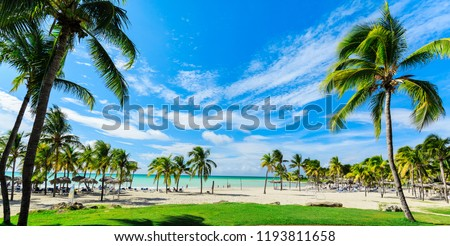 Varadero, Cuba, Paradisus Varadero resort, Sep, 2, 2018, beautiful, mesmerizing, gorgeous  wide open view of a beach and tranquil ocean with people relaxing in background on sunny nice day