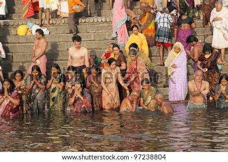 Varanasi-February 20: Hindu People Worship The Ganges In ...