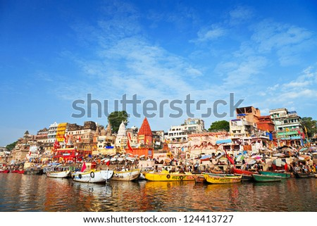 VARANASI, INDIA - APRIL 12: Boats at the river ganges on the auspicious Maha Shivaratri festival on April 12, 2012 at Dasashwamedh ghat in Varanasi, Uttar Pradesh, India