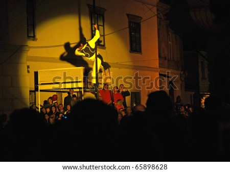 VARAZDIN, CROATIA - AUGUST 29: The largest street festival in the region known as Spancirfest. Artists from many countries perform on the streets of Varazdin, 29 August, 2010 in Varazdin, Croatia