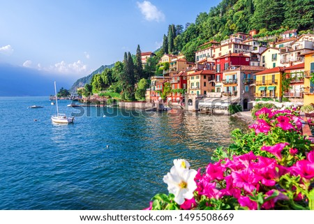 Varenna, Lake Como - Holidays in Italy view of the most beautiful lake in Italy, Lago di Como. Stok fotoğraf ©