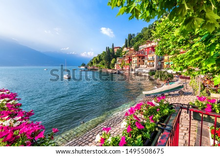 Varenna, Lake Como - Holidays in Italy view of the most beautiful lake in Italy, Lago di Como. Foto stock ©