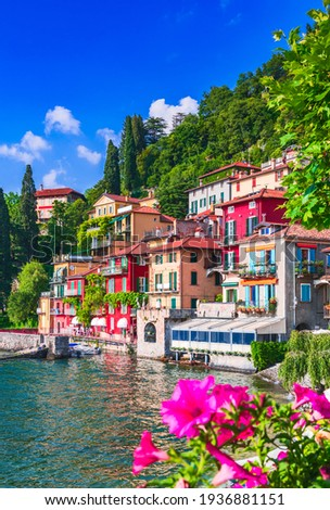 Varenna, Lake Como - Holidays in Italy view of the most beautiful lake in Italy, Lago di Como, Lombardia. Stok fotoğraf ©