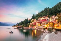 Varenna scenic sunset view in Como lake, Italy.