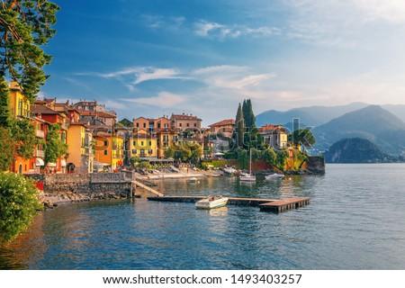 Varenna scenic sunset view in Como lake, Italy. Foto stock ©
