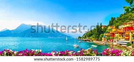 Varenna town in Como lake district. Italian traditional lake village. Italy, Europe. Foto stock ©