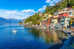 Varenna Town lakeside view in Italy