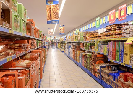 VARESE, ITALY-APRIL 11, 2014: supermarket aisle with packaged foods, in Varese.