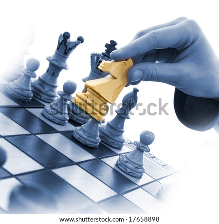 Variants chess composition on white background - stock photo