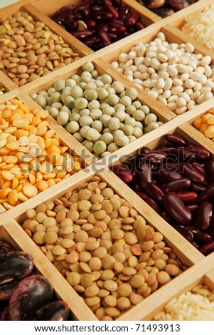 Variation of different beans, lentils and peas in wooden box.
