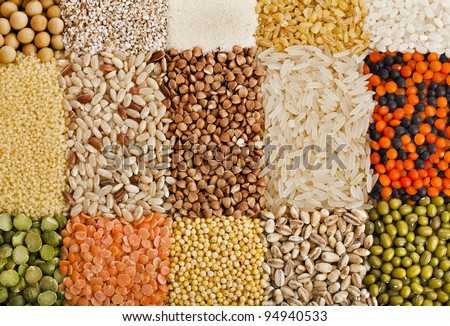 Variation  of dry lentils, beans, peas,  grain ,groats,soybeans, legumes, close up macro top view  backdrop