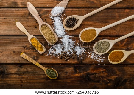 Variation of spices on spoons, product photo, simple composition