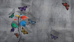 Varicolored autumn branch with leaves and  beautiful butterflies  at concrete background. Minimalistic urban natural image. Copy space.