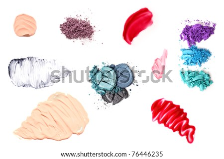 Varied smears, smudges and powders of cosmetics on a pure white background. Can be used together or as separate elements.