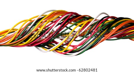 Variegated wire isolated on white background.