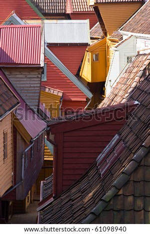 variegated wood houses of old town