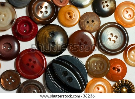 Varieties of brown buttons on white background