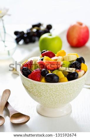 Varieties of fruits salad in a bowl