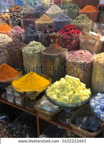 Varieties of spices are shown on display at the Spice Souk old market in Dubai, United Arab Emirates