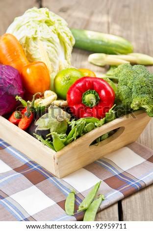 Varieties of Vegetables in wood tray
