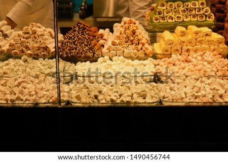 Variety choices of lokum or Turkish delight sold at confectionery shop.