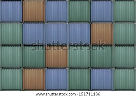 Variety color container stacked in shipyard wait for shipping