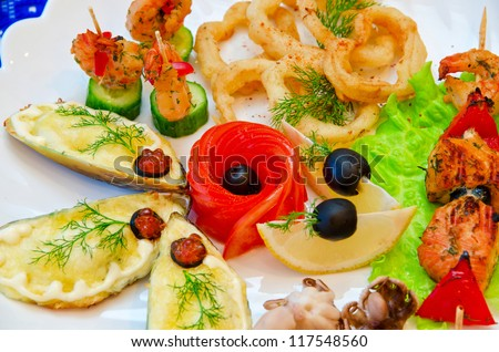 variety eatable seafood set on the dish