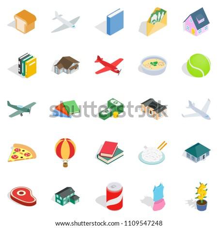 Variety icons set. Isometric set of 25 variety icons for web isolated on white background