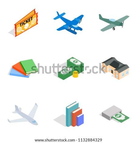 Variety money icons set. Isometric set of 9 variety money icons for web isolated on white background