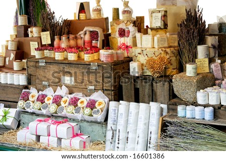 Variety of aromatherapy and spa soaps and natural cosmetics