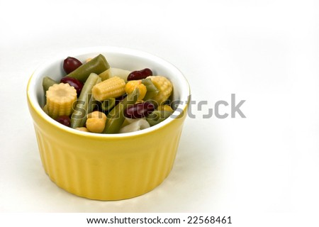 Variety of beans and baby corn in vinegar makes a zesty and healthy salad