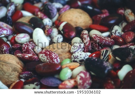 Variety of beans in close-up. Legume food products Сток-фото ©
