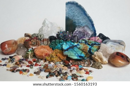 variety of beautiful stones on white background