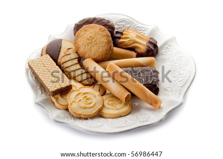 variety of biscuit isolated on white