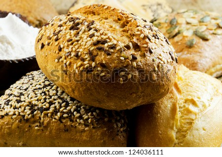 Variety of bread on a twooden table