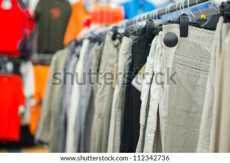 Clothes in supermarket