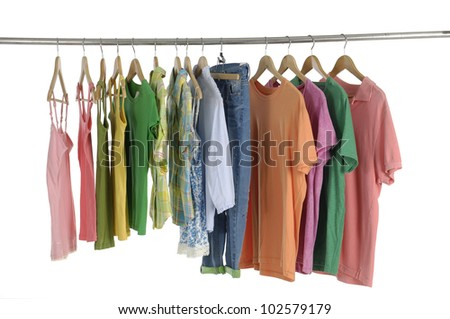 Variety of casual colorful shirts on hangers