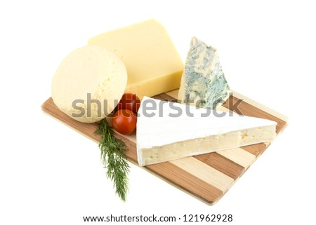 Variety of cheese: ementaler, gouda, Danish blue soft cheese and other hard cheeses