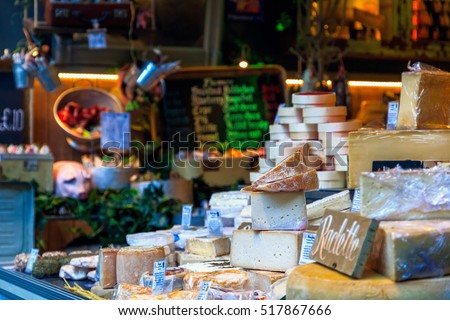 Variety of cheese on display in Borough Market, London Сток-фото ©