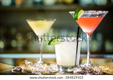 Variety of cocktails at the bar.