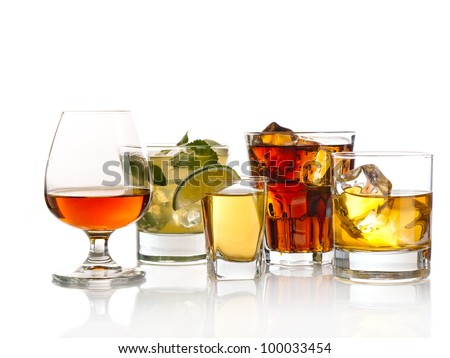 Variety of cocktails on white background #100033454