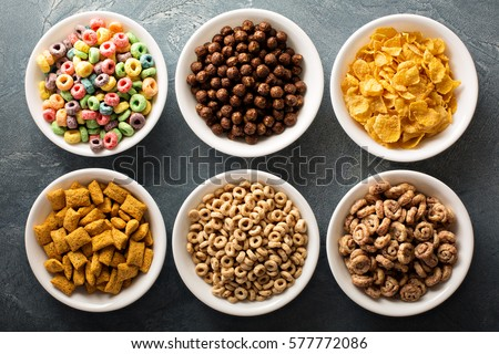 Shutterstock Variety of cold cereals in white bowls, quick breakfast for kids overhead shot