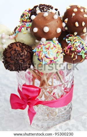 Variety of colorful cake pops