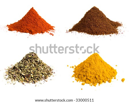 Variety of colorful grounds spices