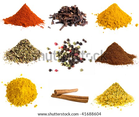 Variety of colorful spices