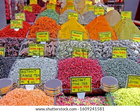 Variety of colorful spices on a spice market