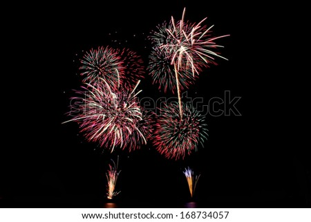 Variety of colors Mix Fireworks or firecracker in the darkness.