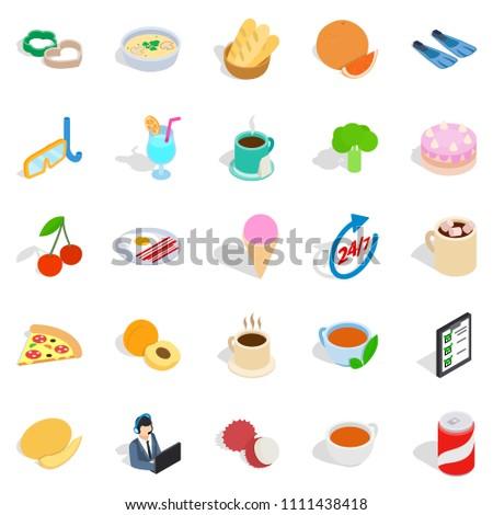 Variety of dessert icons set. Isometric set of 25 variety of dessert icons for web isolated on white background