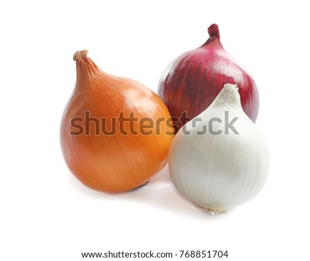 Variety of different onions on white background